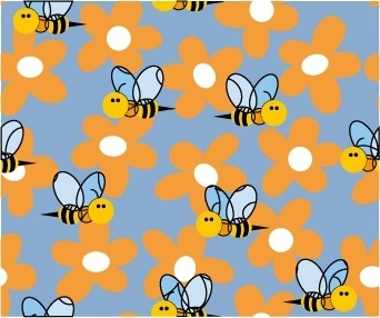 cute bee flowers vector 2 continuous background
