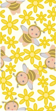 cute bee flowers vector 3 continuous background
