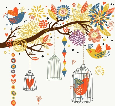 nature background birds cages branch sketch colorful classic