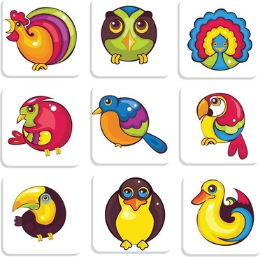 cute birds vector