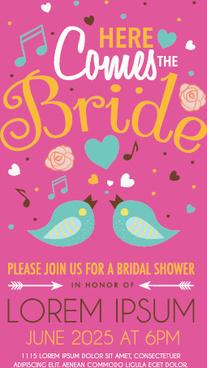 cute birds wedding invitation card vector