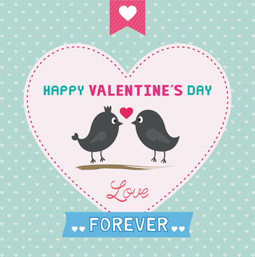 cute birds with valentines day card vector