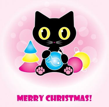 christmas banner cute black cat baubles decor