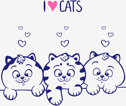 cute blue cats vector graphic