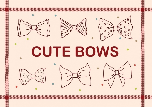 cute bows background hand drawn icons sketch