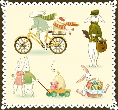 easter design elements rabbit characters stylized cartoon design