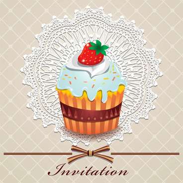 cute cake cards design elements vector