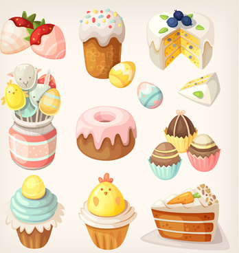 cute cake with sweets vector