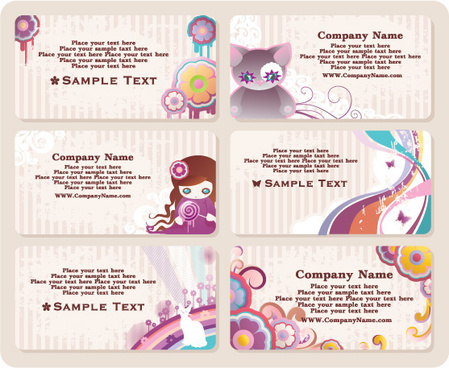 cute card elements vector graphic
