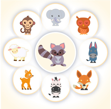 cute cartoon animal set