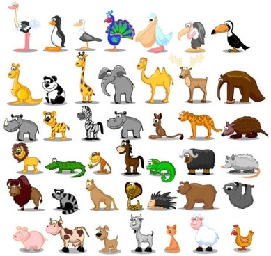 cute cartoon animals 01 vector