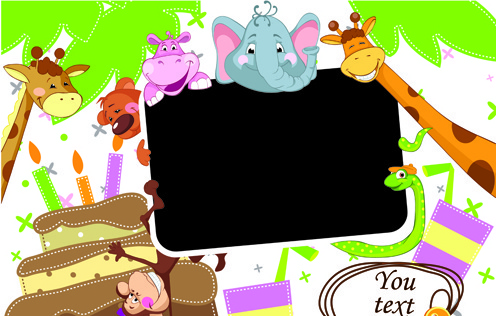 cute cartoon animals and billboard vector