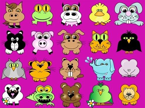 cute cartoon animals vector