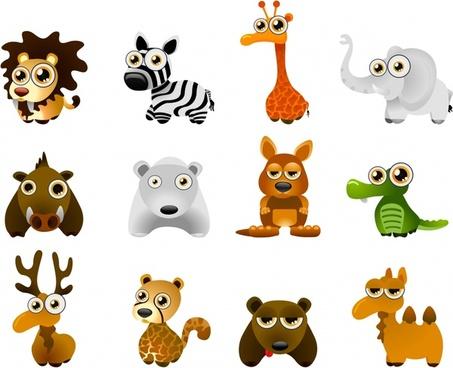 animal icons colored funny cartoon design