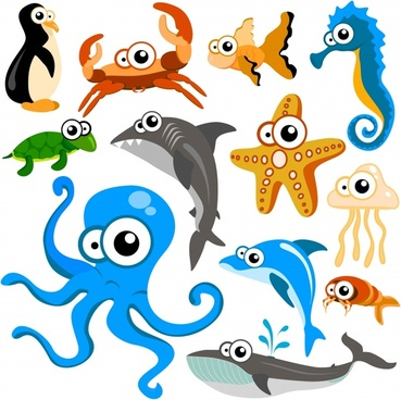 marine species icons cute cartoon characters sketch