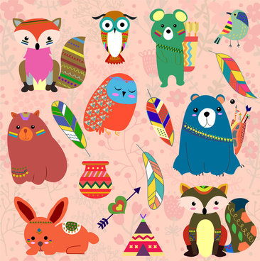 cute cartoon animals vector illustrations with indian style