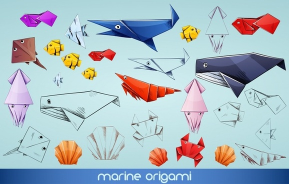 origami marine creatures icons colorful handdrawn sketch