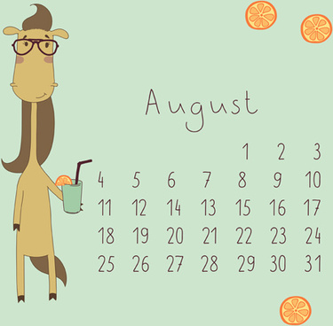 cute cartoon august calendar design vector