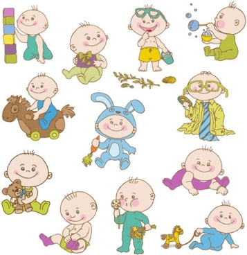 cute cartoon baby 01 vector