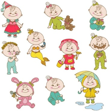 cute cartoon baby 02 vector