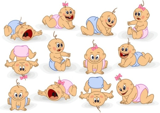 cute cartoon baby 03 vector