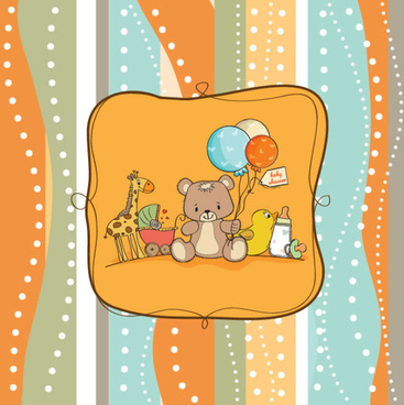 cute cartoon baby cards vector graphics