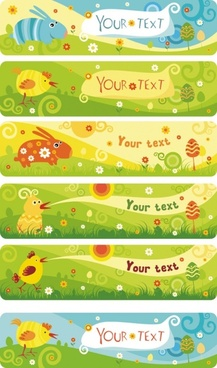 cute cartoon banner02vector