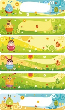 cute cartoon banner03vector