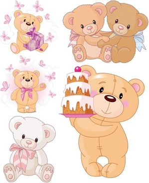 teddy bear icons cute colored cartoon design