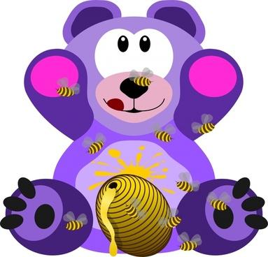 cute cartoon bear with honey drawing illustration