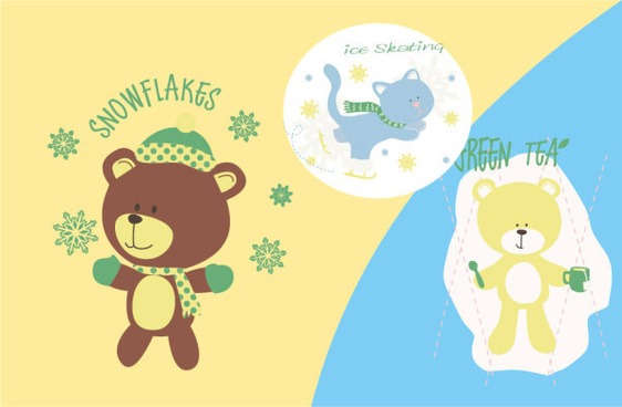 cute cartoon bear with snowflakes vector