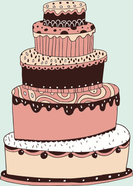 cute cartoon cake elements vector