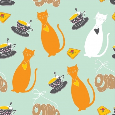 cute cartoon cat background vector