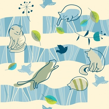 cute cartoon cat pattern vector