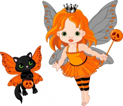 cute cartoon cat vector flower fairy girl wings