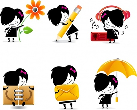 user interface templates cute girl icon cartoon character