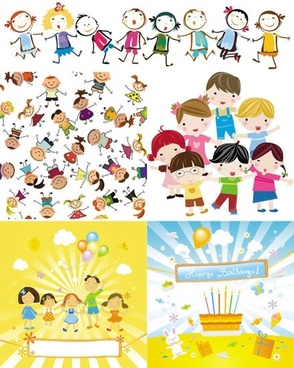 children background cute cartoon characters colorful handdrawn sketch