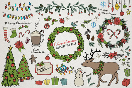 cute cartoon christmas elements illustrations vector