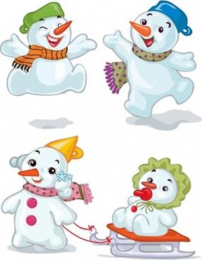cute cartoon christmas snowman vector