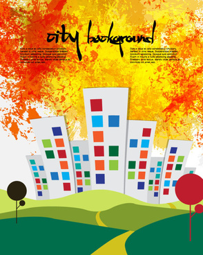 cute cartoon city background vector