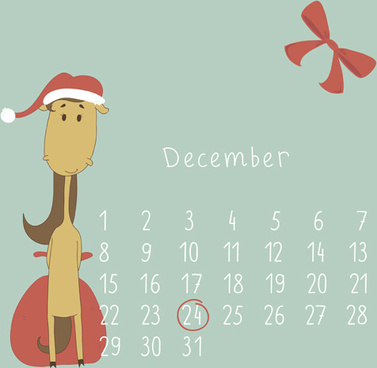 cute cartoon december calendar design vector