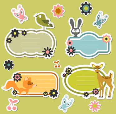 cute cartoon dialogize label vector