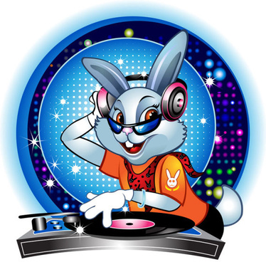 cute cartoon dj rabbit vector