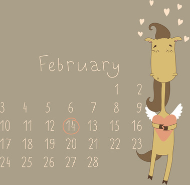 cute cartoon february calendar design vector