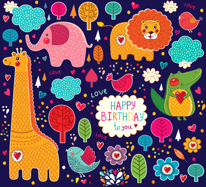 cute cartoon floral animals pattern vector set
