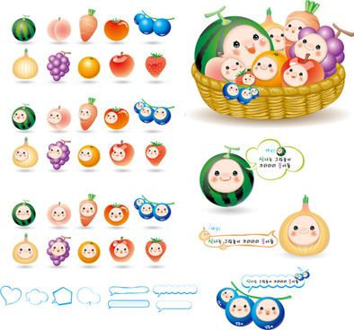 cute cartoon fruits baby vector