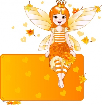 cute cartoon girl with wings vector flower fairy