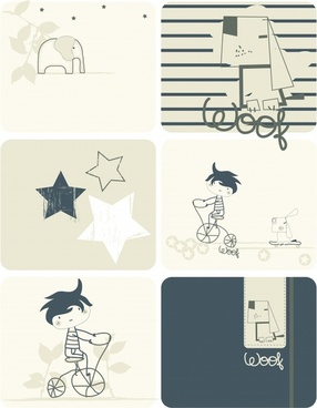 cartoon design elements classical flat handdrawn sketch