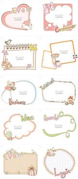 cute cartoon hand drawn frame vector