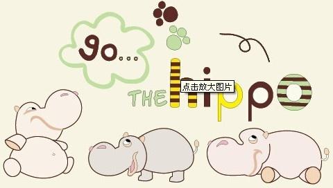 cute cartoon hippo vector
